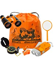 9a23a97848 Explorer Kit Baby Binocular Flashlight Compass Magnifying Glass Whistle  Backpack Play Kid Camping Gear Educational Toys