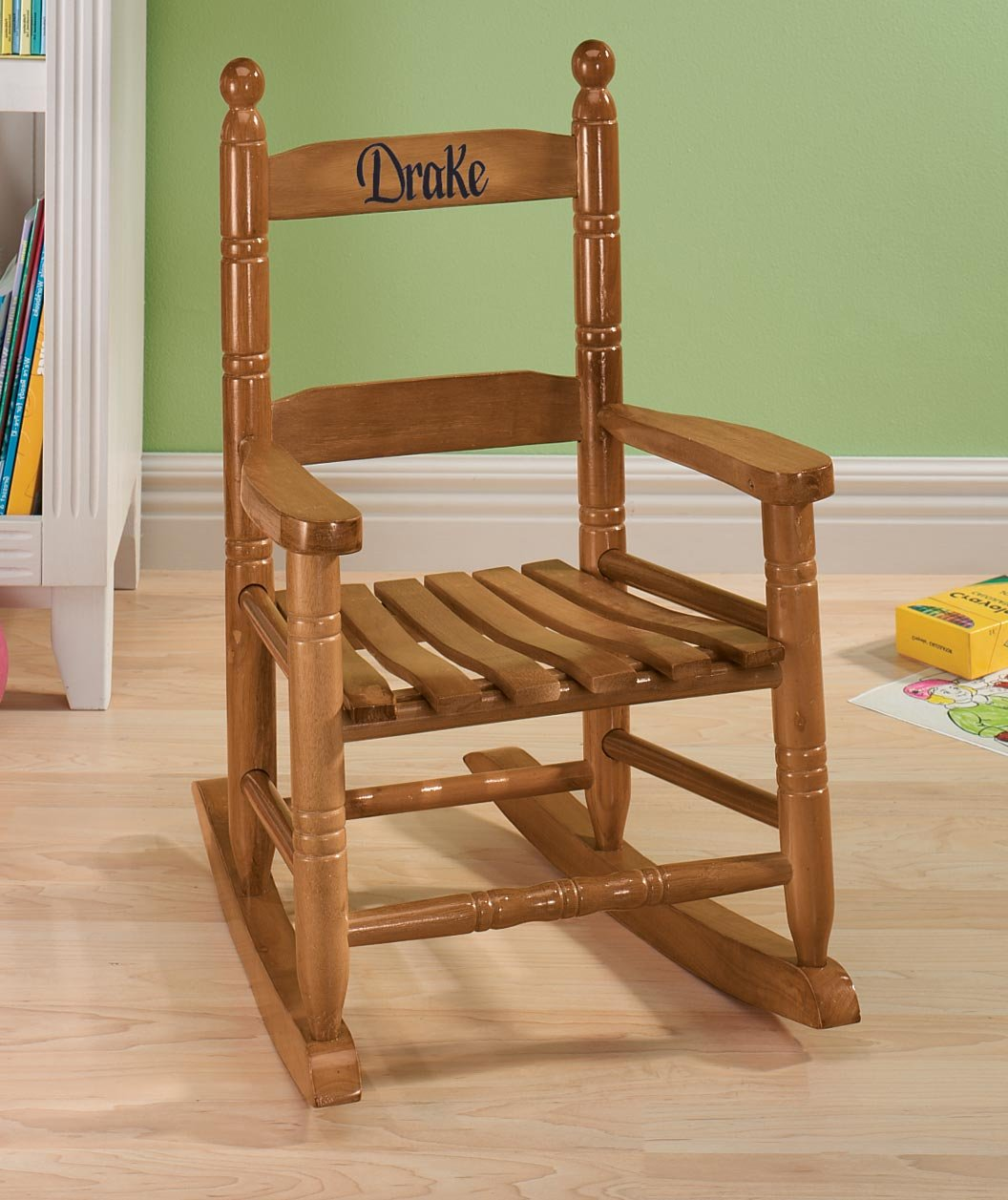 Miles Kimball Personalized Child's Natural Rocker - Black Font by Miles Kimball