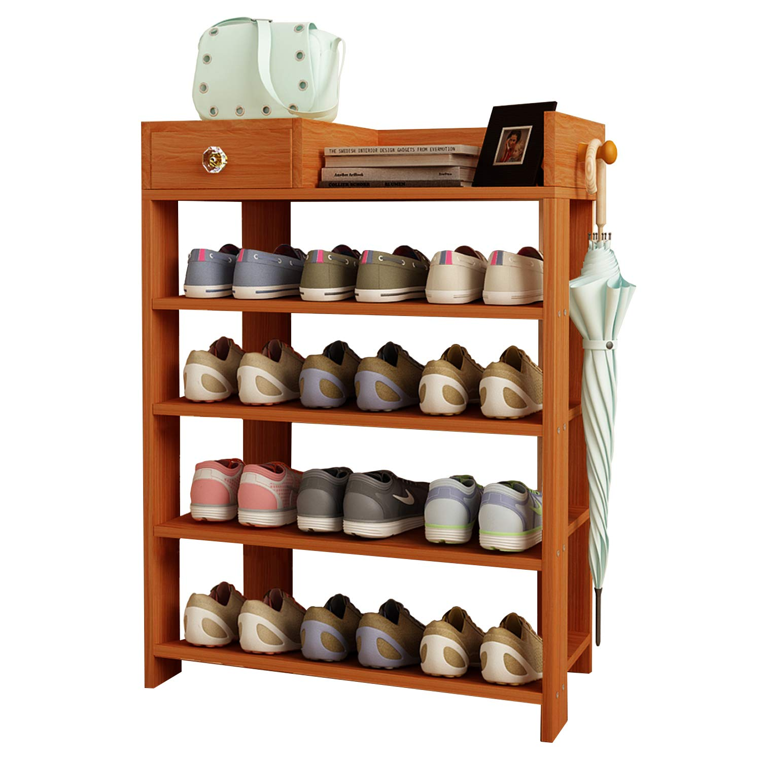 Jerry & Maggie - 4 Tier Wood MDF Board Shoe Rack Shelf with One Drawer Clothes Rack Shoe Storage Shelves Free Standing Flat Racks Classic Style - Multi Function Shelf Organizer - Natural Wood Tone