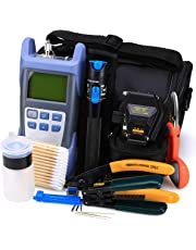 FTTH Fiber Optic Tool Kit 18 in 1 with Fiber Optical Power Meter and 1mW Visual Fault Locator and Cable Cutter Stripper Tool SKL-6C Fiber Cleave Multi-Function Equipment Tool
