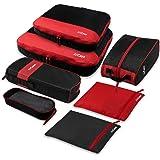 AirCase C23 Packing Cubes/Travel Pouch Set/Travel Organizer, Black (7-Piece Set)