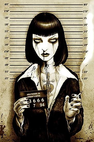 Mrs Wallace By Marcus Jones Uma Thurman Mugshot Pulp Fiction Canvas Art Print