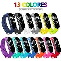 Bangting 13 PCS Correa Compatible con Pulseras Xiaomi Mi Band 3/4, Correas para Fundas Mi Band 3 Mi Inteligente Band 4 Pulsera Reloj Silicona Banda Reemplazo