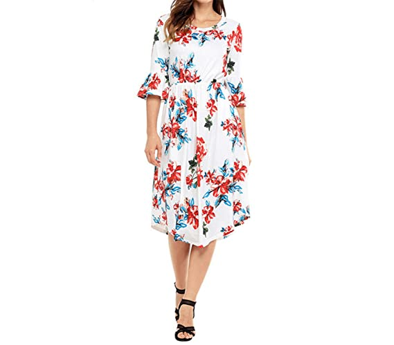 Yuzhongywan Women Work Wear 3/4 Bell Sleeve Floral Print Boho Chic Midi Dress OL Vestidos Casual Dresses at Amazon Womens Clothing store: