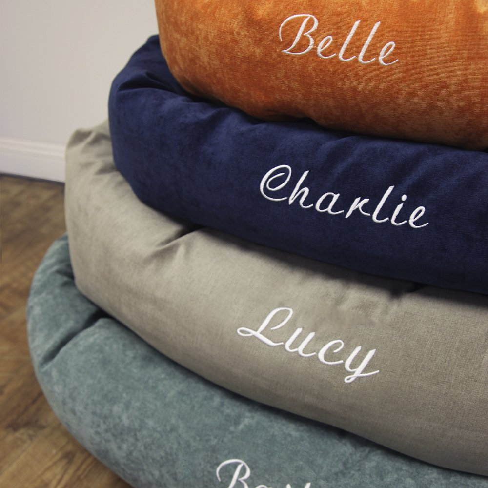 Majestic Pet Personalized Bagel Dog Bed - Machine Washable - Soft Comfortable Sleeping Mat - Durable Supportive Cushion Custom Embroidered - available replacement covers - Small Navy Blue by Majestic Pet (Image #4)