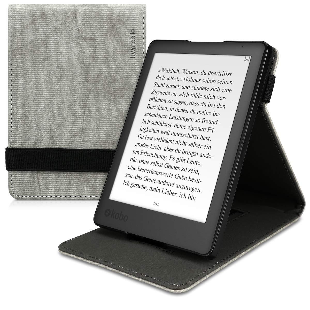 Case Flip de Cuero sint/ético kwmobile Funda para Kobo Aura Edition 2 Carcasa con Tapa Vertical y Soporte para e-Book