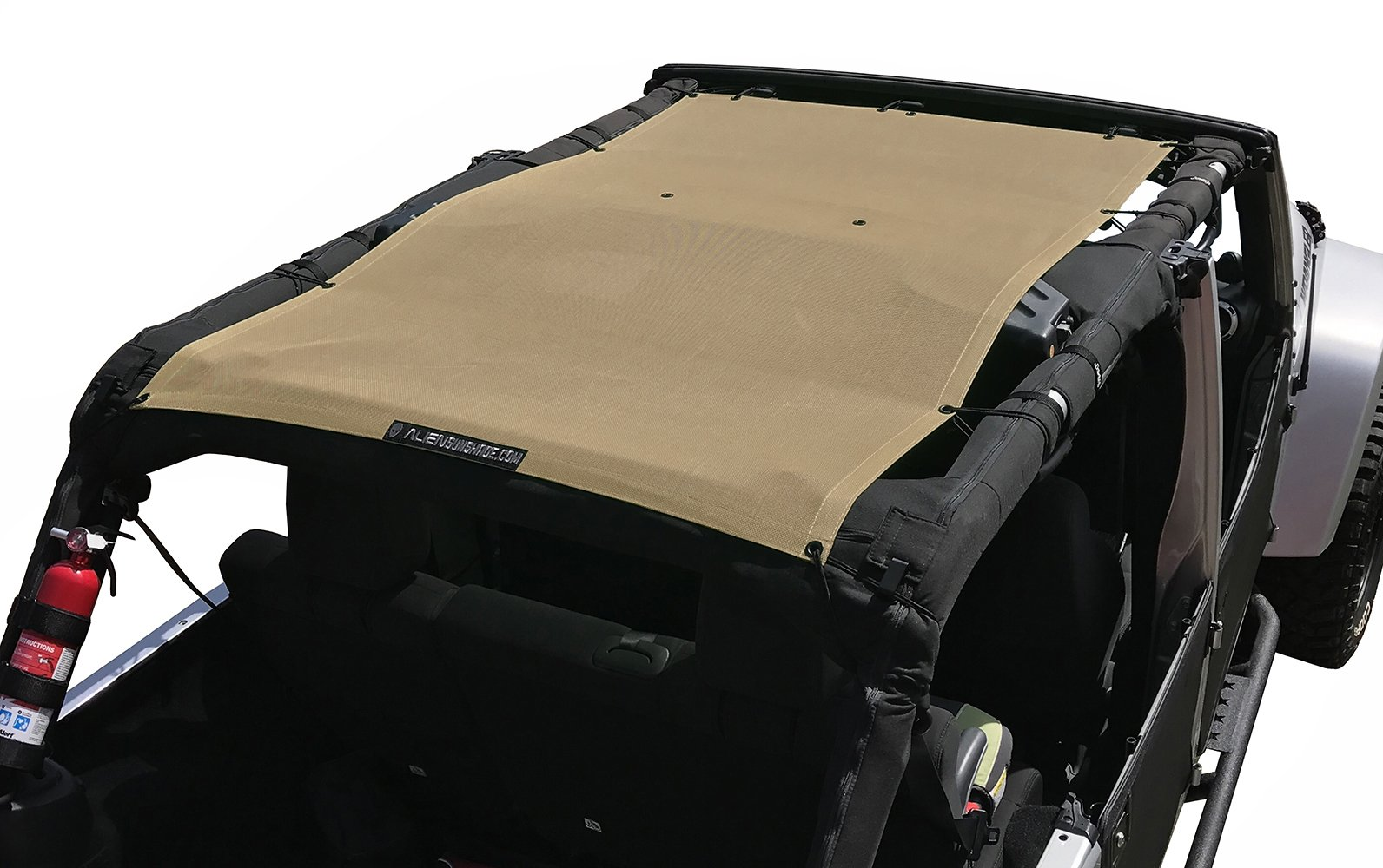 ALIEN SUNSHADE Jeep Wrangler Mesh Shade Top Cover with 10 Year Warranty Provides UV Protection for Your 4-Door JKU (2007-2017) (Tan)