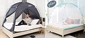 BESTEN Floorless Indoor Privacy Tent on Bed for Warm and Cozy Sleep Inside Drafty Room (Twin, Charcoal+net)