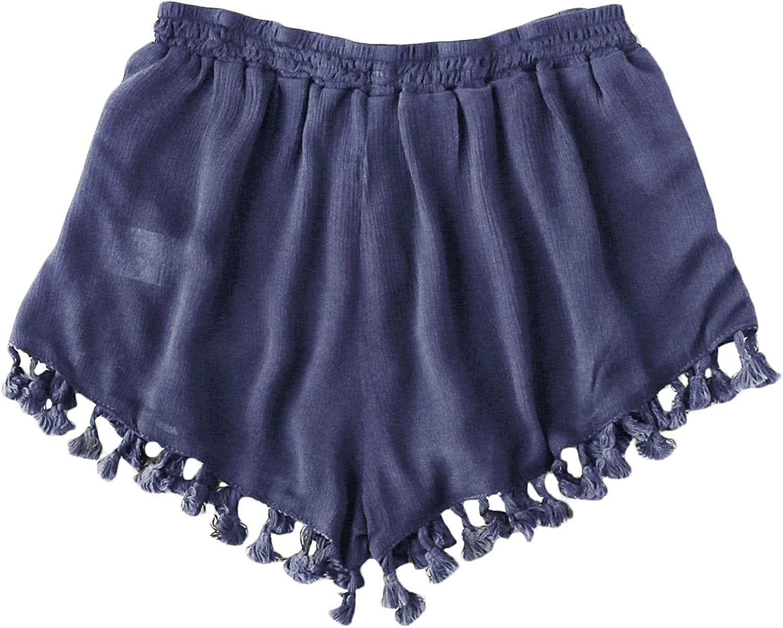 WDIRARA Womens Pearl Beaded Side Zip Back Wide Leg Shorts Summer Causal