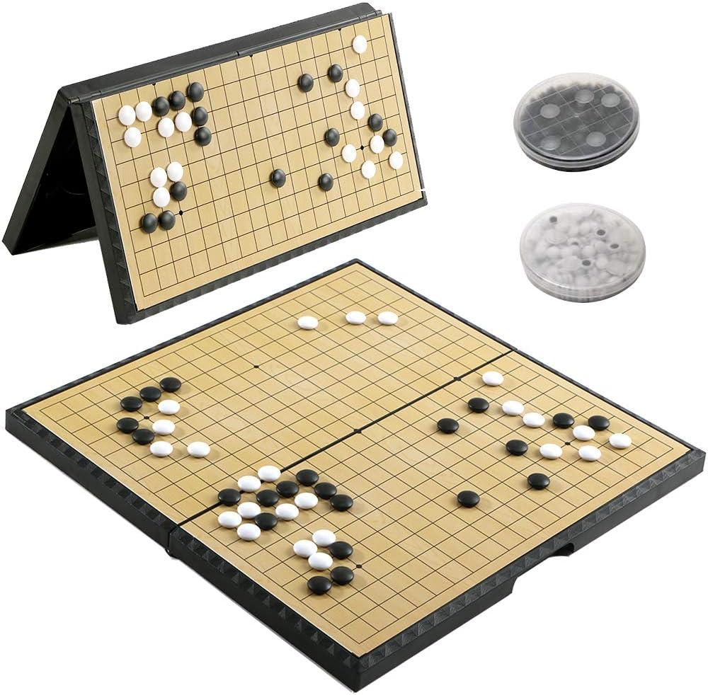 Go Brettspiel 2-Spieler Go Game Set Magnetisches Faltbrett Weiqi Lernspiele f/¨/¹r Kinder Erwachsene