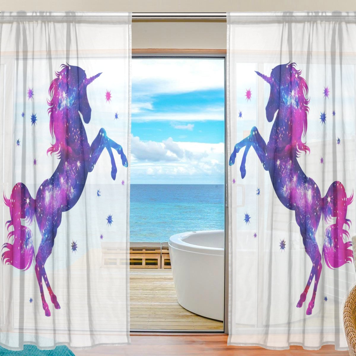 SEULIFE Window Sheer Curtain, Unicorn Animal Star Glitter Voile Curtain Drapes Door Kitchen Living Room Bedroom 55x78 inches 2 Panels g3721567p112c126s167