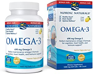 Nordic Naturals Omega-3 Soft Gels - Omega-3 Essential Fatty Acids Aid in Cognition, Heart Health, and Immune Support, Lemon Flavor, Bonus Size 90 Count