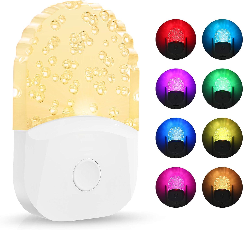 Plug in Color Changing Night Light, DORESshop 0.5W Plug Into Wall RGB LED Night Lights, Dusk to Dawn Sensor, 3 Lighting Modes, Acrylic Nightlight for Kids, Bedroom, Bathroom, Nursery, 2 Pack
