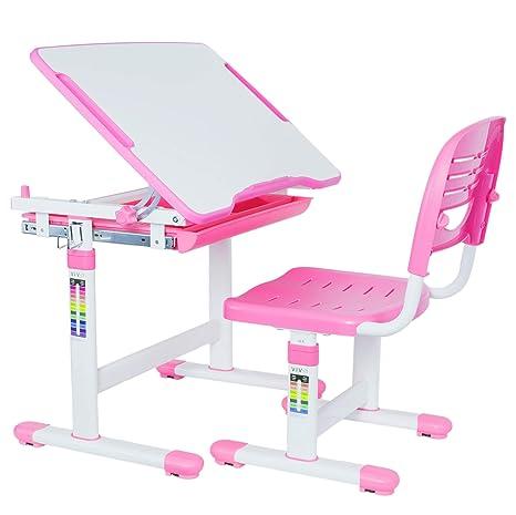 Awe Inspiring Vivo Pink Height Adjustable Childrens Desk And Chair Set Kids Interactive Workstation Forskolin Free Trial Chair Design Images Forskolin Free Trialorg