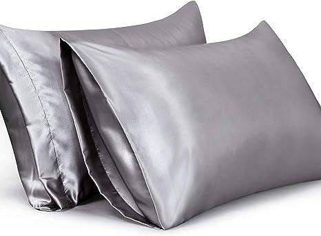 "2Pc Silk Satin Pillowcase Cushion Cover King Pillow Case Cover 20x40/"" Grey"