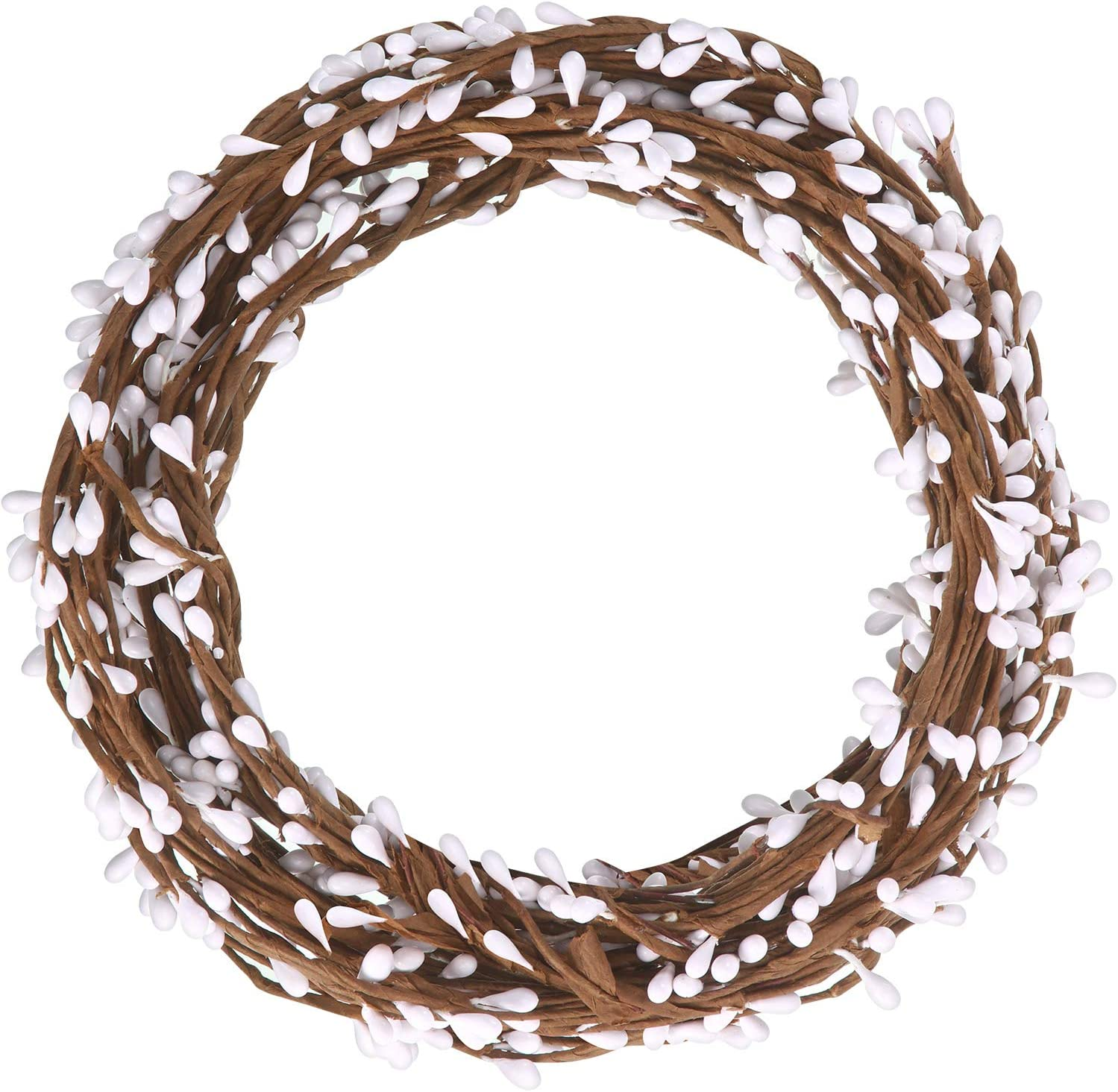WILLBOND 64 Feet 30 Packs Ply Pip Berry Garland for Christmas Winter Indoor Outdoor Decor Head Wreaths Wedding Crowns (White)