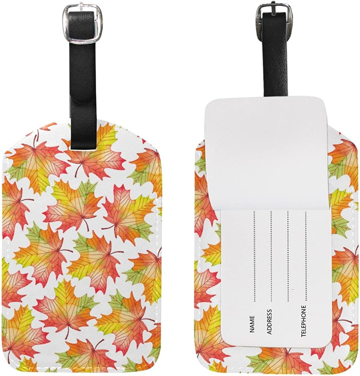 Chen Miranda Watercolor Fall Maple Travel Luggage Suitcase Label ID Tag for Baggage 1 Piece