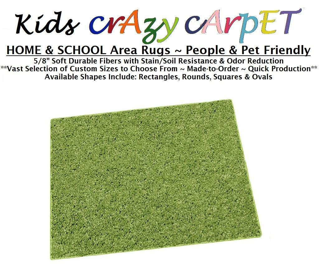 Square 4'x4' - Gremlin Green ~ Kids Crazy Carpet Home & School Area Rugs | People & Pet Friendly – R2X Stain Resistance & Odor Reduction