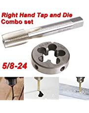 SODIAL 5/8-24 UNEF Hand Tap & Round Die Set Alloy Steel Right Hand Tapping Hand Cutting Tool