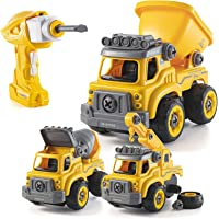 Take Apart Toys with Electric Drill | Converts to Remote Control Car | 3 in one Construction Truck Take Apart Toy for…