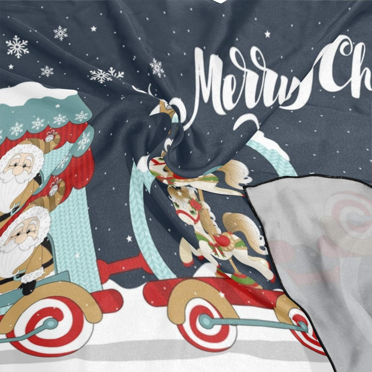 Soft Polyester Silk Scarf For Kids Girls Fashion Print Cartoon Cute Christmas Train Kerchief Scarves Hair Bands Scarf Hair Scarf Square Multiple Ways Of Wearing Daily Decor