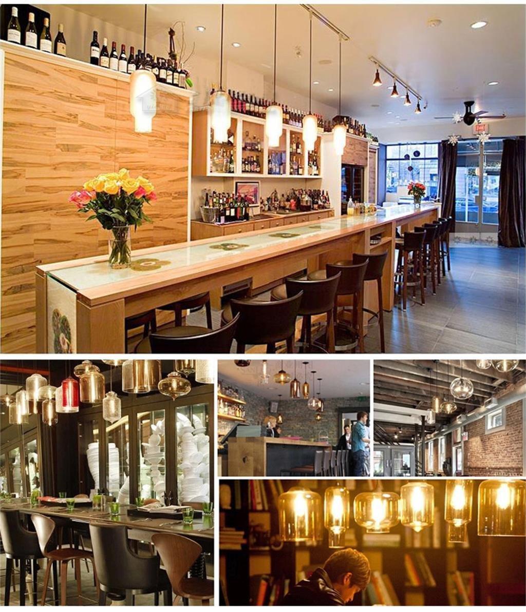 Home UK de fácil Cafe restaurante Bar Bar lámpara Nordic Retro personalidad einkopf Pecera Cristal de araña, gris, E27 40.00 wattsW 220.00 voltsV: ...
