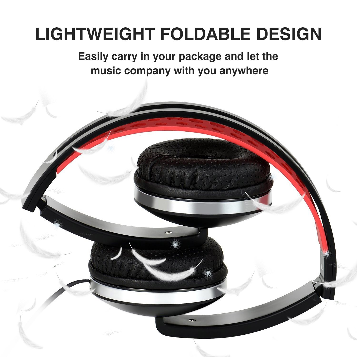 Over Ear Headphones, Lightweight Foldable Headphones with Microphone Stereo Bass Adjustable PC Headset Wired Flat Cord Headphone with Volume Control for Sport Workout Gym for Smartphones Laptop by Fujack (Image #2)