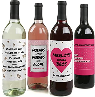 product image for Big Dot of Happiness Be My Galentine - Valentine's Day Gift for Women and Men - Wine Bottle Label Stickers - Set of 4