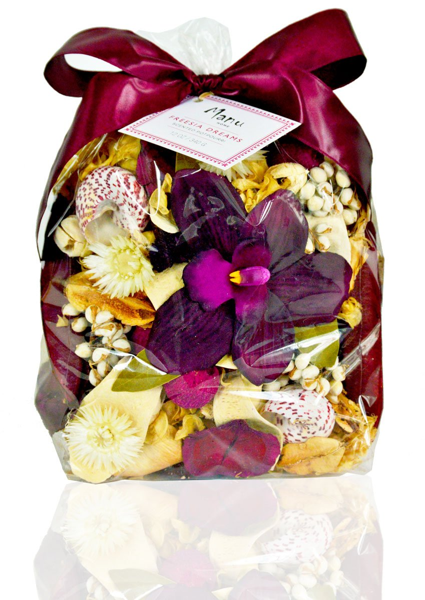 Manu Home Large Freesia Potpourri bag~ Fill the air in your space with our Fresh Freesia Flower Potpourri~ Legend has it, that the Freesia Flowers bring Magic into this world ~ Made in USA! by Manu Home