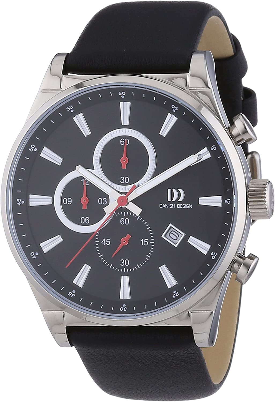 Danish Design  - Reloj Analógico de Cuarzo para Hombre, correa de Cuero color Negro