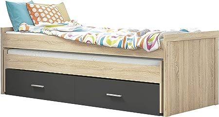 HomeSouth - Cama Nido Juvenil con Dos Camas y Dos Cajones, Cama para habitación y/o Dormitorio, Color Cambria y Grafito, Modelo Lara, Medidas: 200,5 cm (Largo) x 98 cm (Ancho) x 72 cm (Alto)