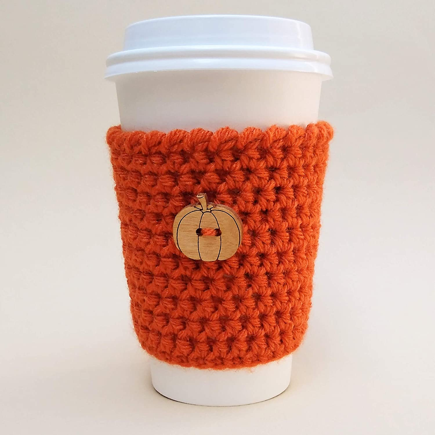 Pumpkin Spice Coffee Sleeve with Pumpkin Button