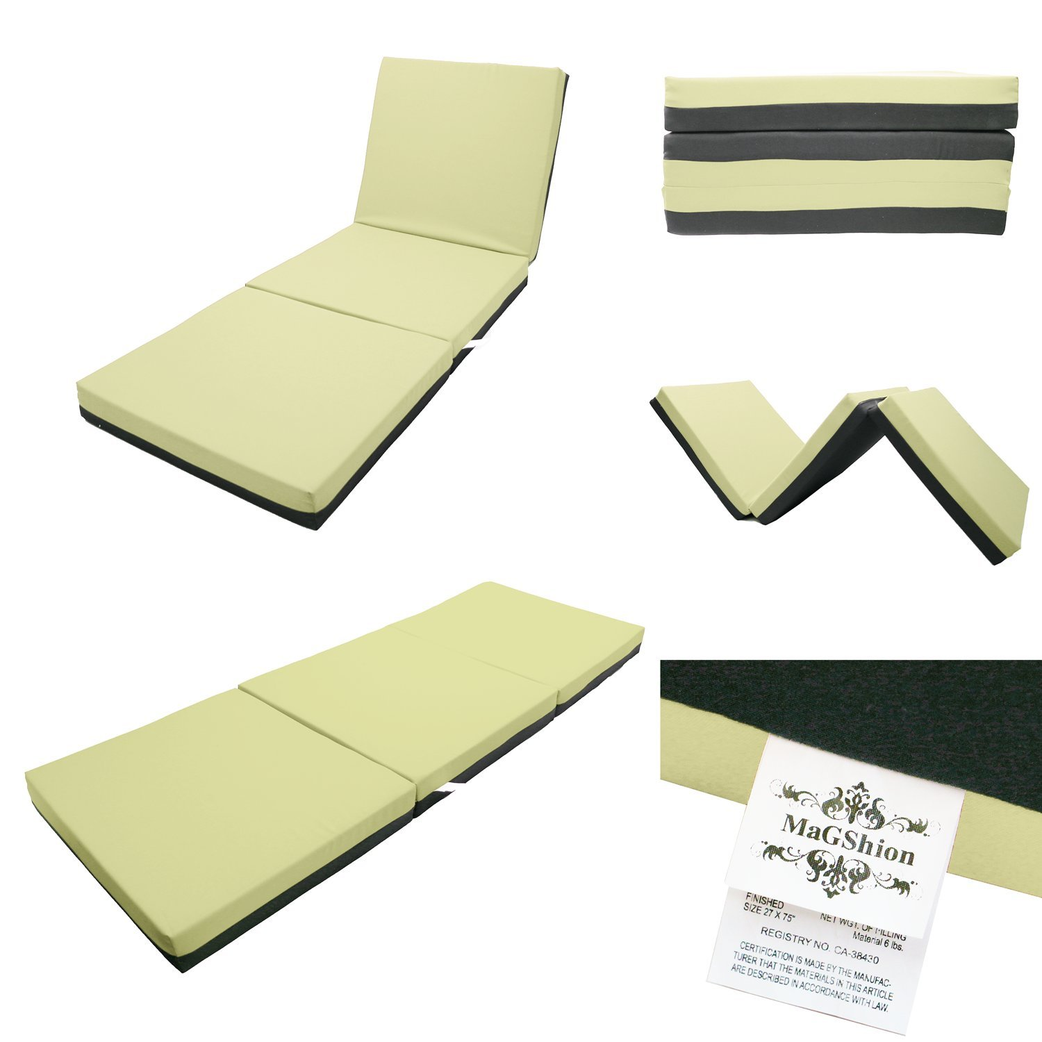 Magshion Sleep Folding Memory Foam Floor Mattress Thai Massage Bed Tri-Fold - Full Size (Khaki) by Magshion Furniture