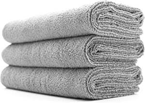 The Rag Company (3-Pack) 16 in. x 27 in. Sport, Gym, Exercise, Fitness, Spa & Workout Towel - Ultra Soft, Super Absorbent, Fast Drying 320gsm Premium Microfiber (Ice Grey, 16x27)