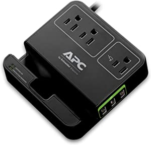 APC 3-Outlet Surge Protector 1080 Joule with 3 USB Charging Ports, SurgeArrest Essential (P3U3B)