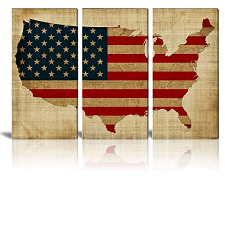 wall26 – Canvas Prints Wall Art – 3 Panel Retro Style Vintage USA Map with American Flag – 36 x18 x 3 Panels