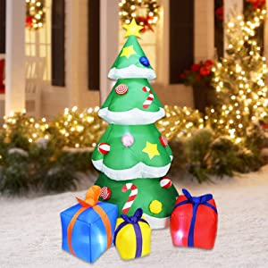 SOARRUCY 7FT Inflatable Christmas Tree Decorations, LED Lights Design Gift Boxes Under Tree Ornament Self-inflates Blow Up with Fan, Indoor Outdoor Christmas Yard Prop Décor