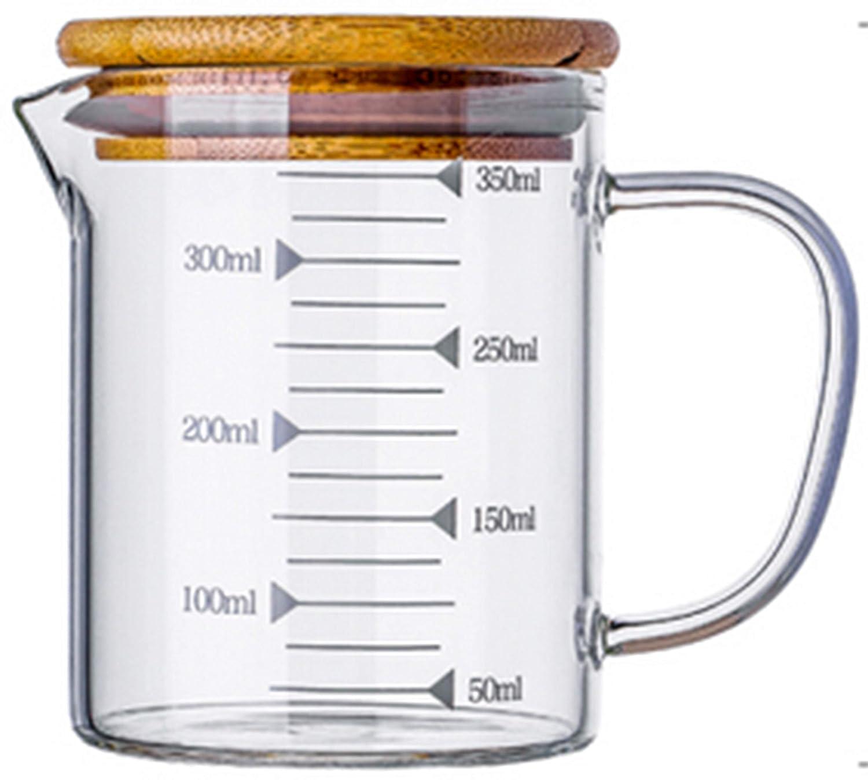 KINNOSE Graduated Beaker Mug with Handle and Durable Bamboo Lid Borosilicate Glass Multi-Function Food Grade Measuring Cup 350ML