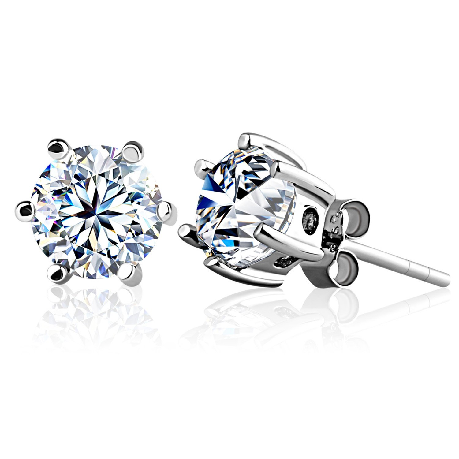 Jsée Sterling Silver Cubic Zirconia Round Cut Studs Earrings For Mens  And Womens