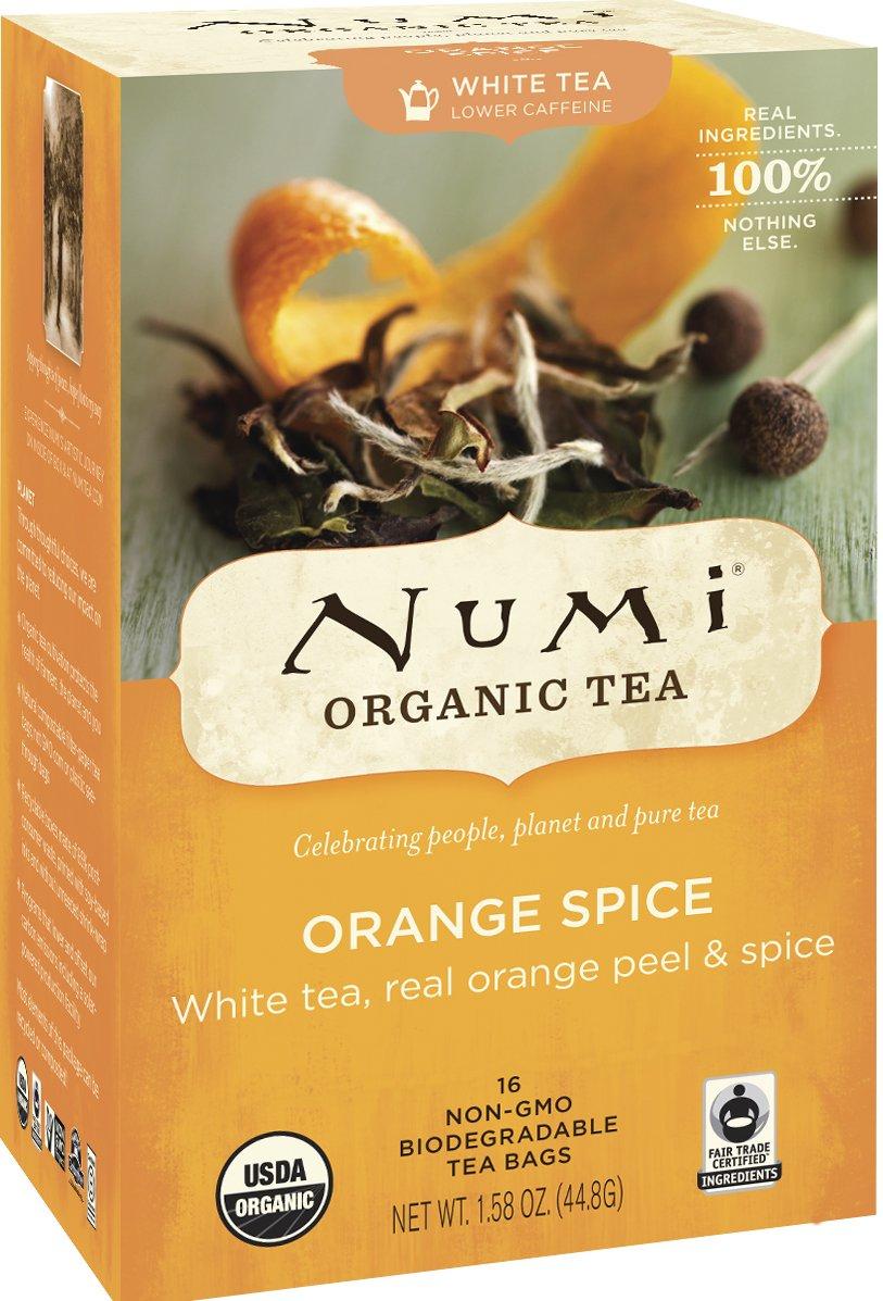 Numi Organic Tea--Orange Spice Tea--16 Count Non-GMO Biodegradable Tea Bags--White Tea--Low Caffeine Premium Bagged Tea