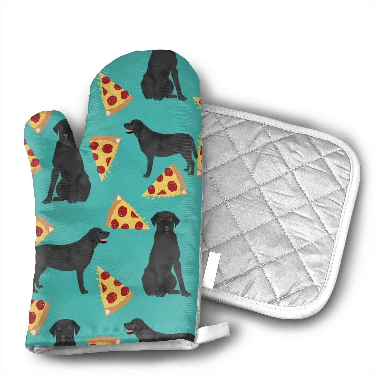 Klasl5 Black Lab Pizza Oven Mitts,Heat Resistant Oven Gloves,Non-Slip Cooking Gloves,Washable Kitchen Mitts for Baking, Barbecue.