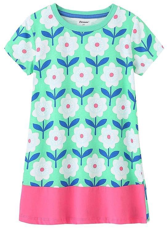 Fiream Girls Summer Short Sleeves Cotton Casual Dress(155Green,3T/3-4YRS)