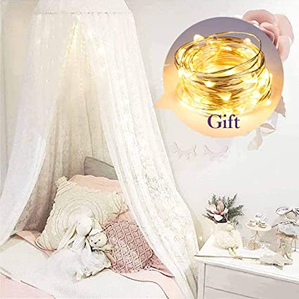 Dix-Rainbow Crib Canopy for Kids Bed Canopy for Girls Bed Canopy Princess  White Lace Crib Net Tent for Baby Little Girl Cute Starry Barbie Castles -  ...