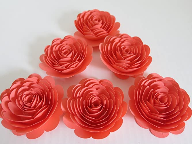 Amazon coral paper roses 3 paper flowers set of 6 salmon coral paper roses 3quot paper flowers set of 6 salmon wedding flowers mightylinksfo