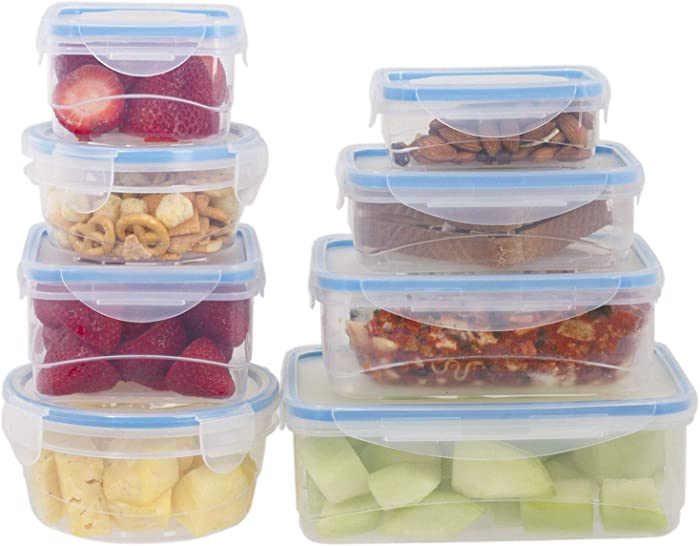 8 Pc Plastic Food Storage Containers - Durable Multi-Size Food Containers with Locking Lids - BPA Free Microwave Safe Food Storage Set - Airtight Meal Prepping Containers for Storage