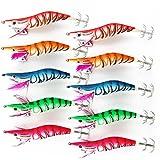 JSHANMEI®10 pcs Leurre Crevette pour la Pêche des Seiches et Calamars Leurres Accessoires de Pêche Squid Jigs Fishing Lures