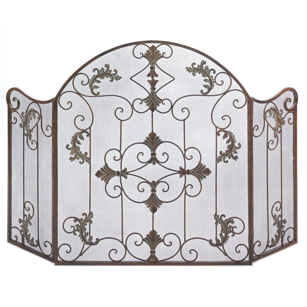 iron fireplace screens. Amazon.com: Gifts \u0026 Decor Rustic Scrollwork Iron Florentine Fireplace Screen: Home Kitchen Screens