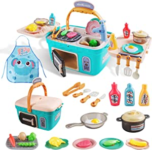 Sufiya Kids Kitchen Playset,Play Cooking Kitchen Picnic Set,Portable Basket Toys with Music&Light,Color Changing Play Foods,Play Foods, Pretend Play Oven,Kitchen Accessories Toys for Kids Boys Girls