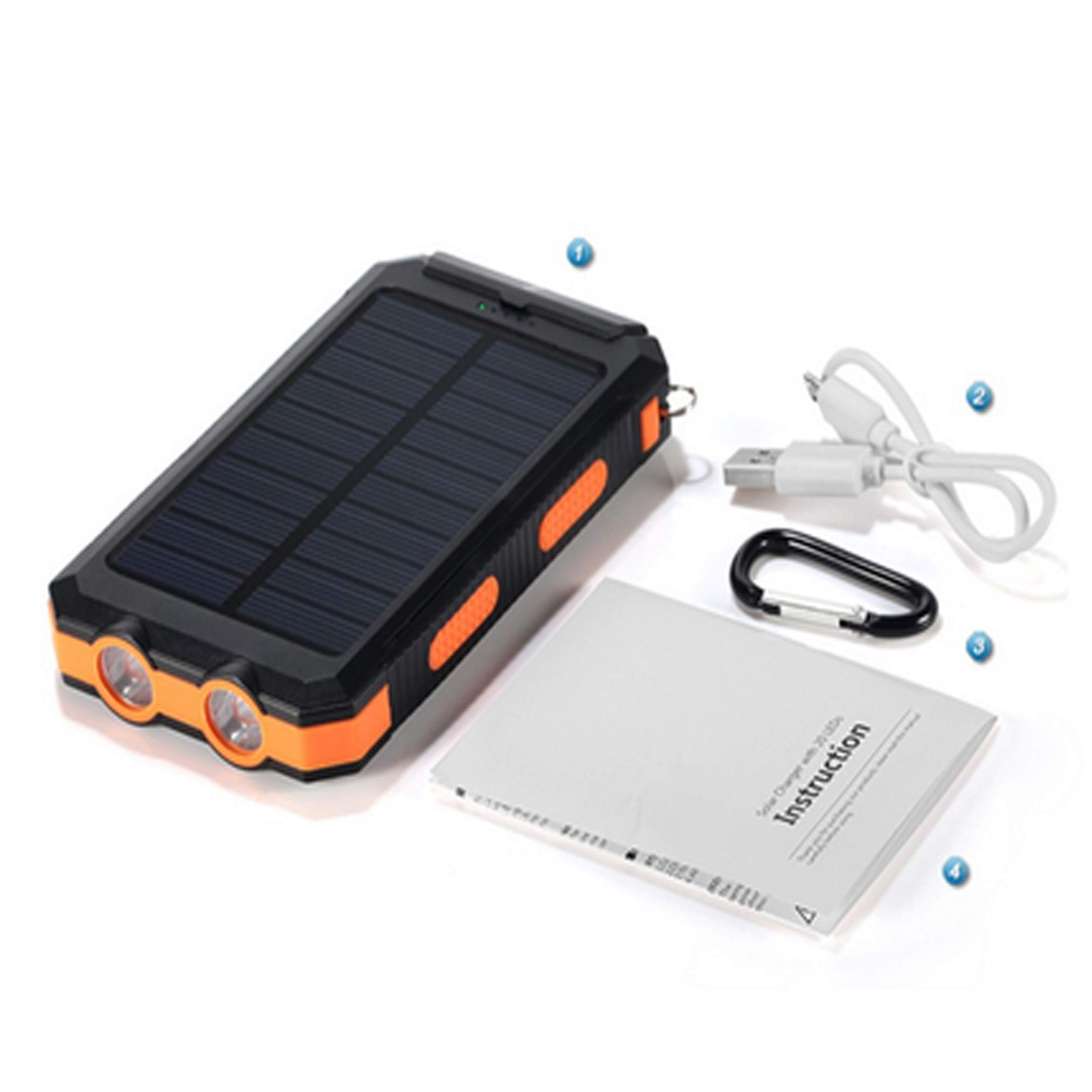 Bysionics Solar Phone Charger,Portable Charger Solar Charger Power Bank 12000mah External Backup Battery Pack Dual USB with 2LED Light Carabiner and Compass for Your Smartphones and More (Orange) by Bysionics (Image #5)