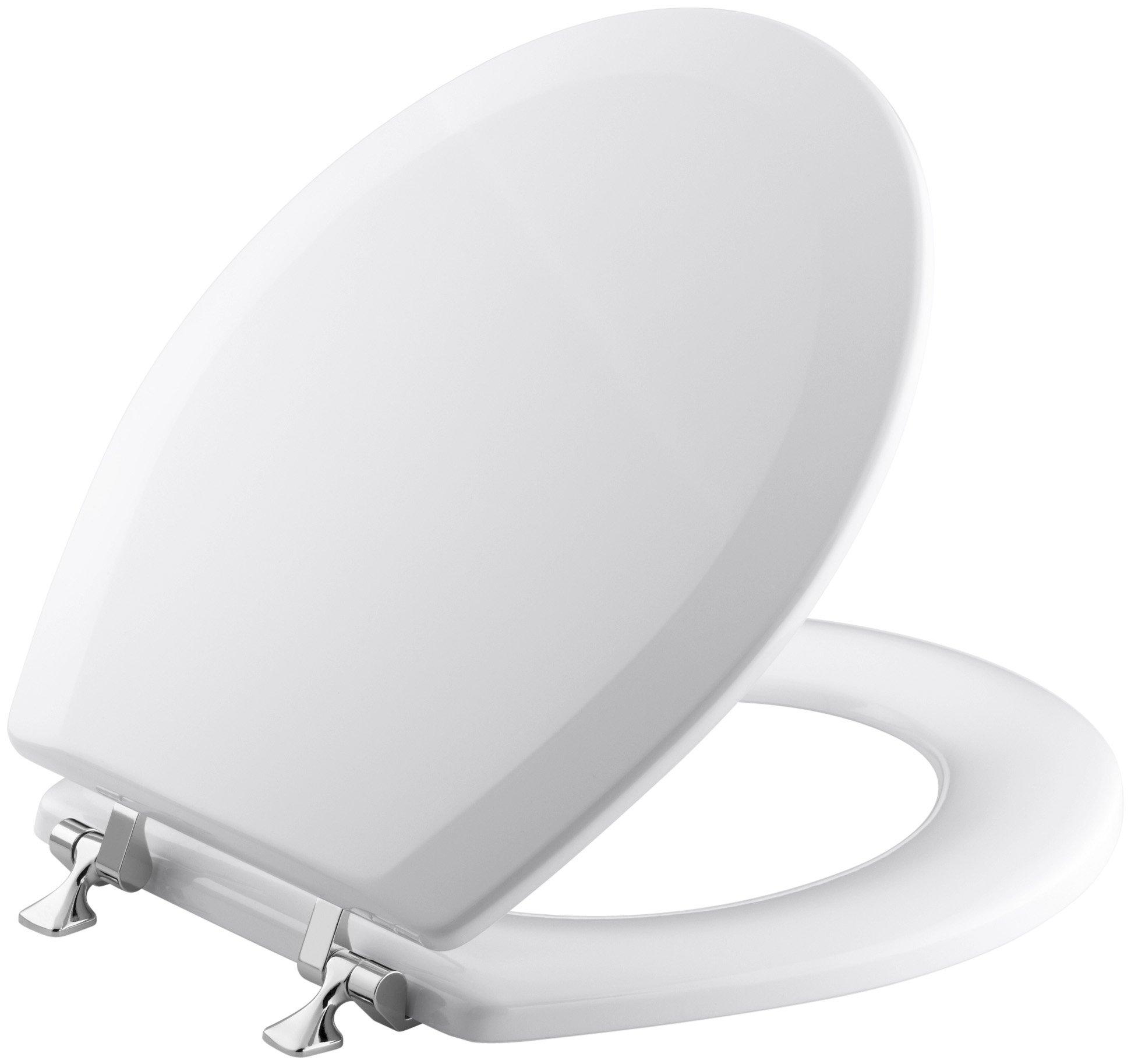 KOHLER K-4726-T-0 Triko Round-front Molded-Wood Toilet Seat with Polished Chrome Hinges, White by Kohler